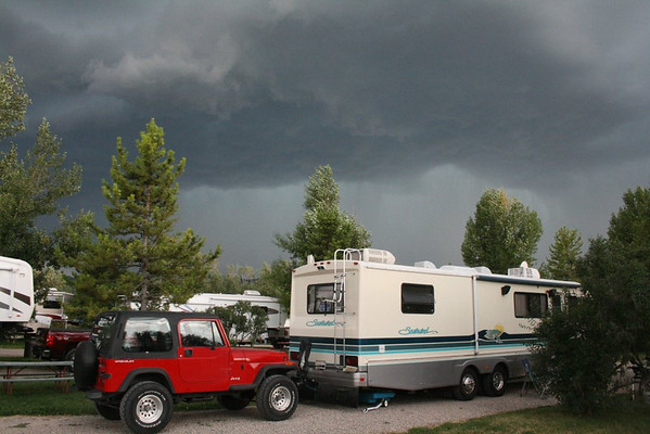 Evening storm is forming in Victor, Idaho, 25 miles west of Jackson, WY on the west side of the Tetons.