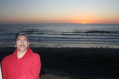 Joe, sunset at Moonlight Beach