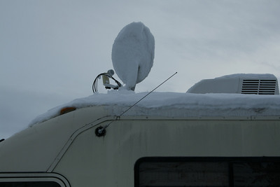Snow at Mountain Range RV Park, Columbus, Montana