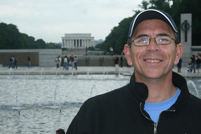 A day in Washington, DC - Joe with Lincoln Memorial in background - May 17, 2008