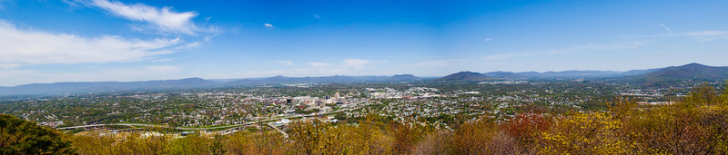 Compilation of multiple images taken from the top of Mill Mountain, overlooking Roanoke Valley.