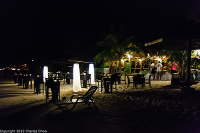 Roatan May 2012-1249  The Beach Buffet in front of the Paradise Beach Hotel after dark.