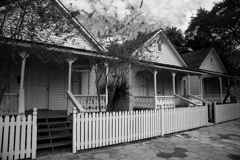 069 Three identical bungalows sat along a side-street in Ybor City.I converted this photo to black and white because I think it looks better in B&W than it does in color.