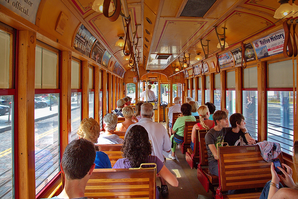 092 Melbourne doesn't have tall buildings. Neither does Ybor City. But downtown Tampa does, and there is an inexpensive (especially for seniors) trolley that runs from Ybor City to downtown Tampa. So some of us paid our few pesos and off we went to explore the big city. And I love the wooden interior of this car. (It looks old, but it's not.)