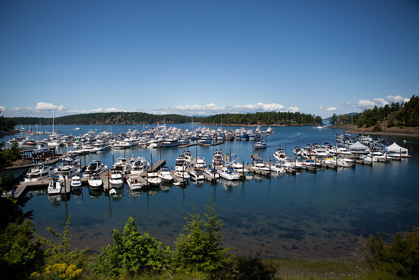 The dock closest to the camera is filled with event attendees, plus more on other docks. Some 150 boats registered.