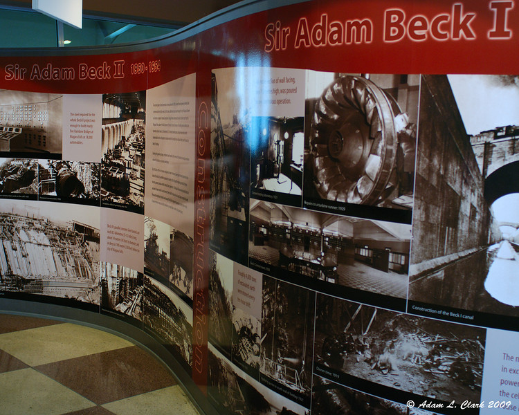 A wall of pictures and facts of construction of Beck I and Beck II