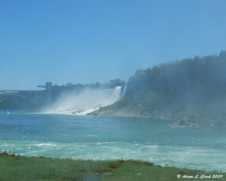 The American Falls thru the mist from the observation desk