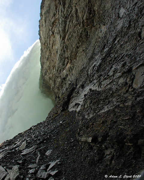 Looking up at the falls from the upper level of the observation deck.<br /> With the sound, the feel, and the water, this was the most impressive view of the falls I found