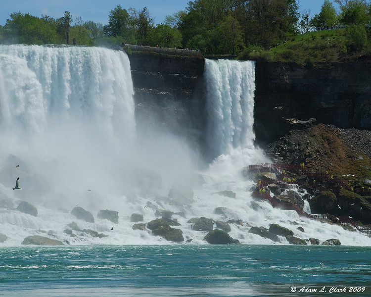 American Falls and Bridal Veil Falls from the dock area