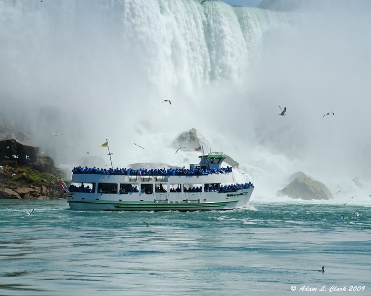 One of the Canadian boats getting a closer view of the American Falls
