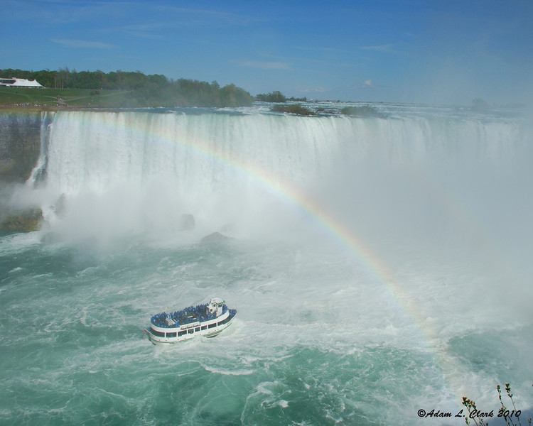 A rainbow over the Maid of the Mist at the Horseshoe Falls