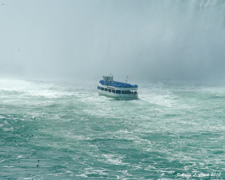 Maid of the mist getting as close as they can to the Horseshoe falls