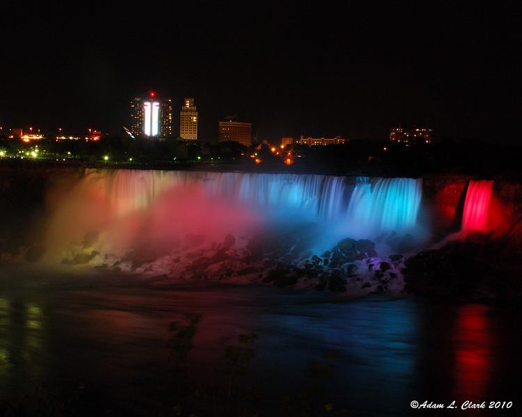 American Falls illuminated at night