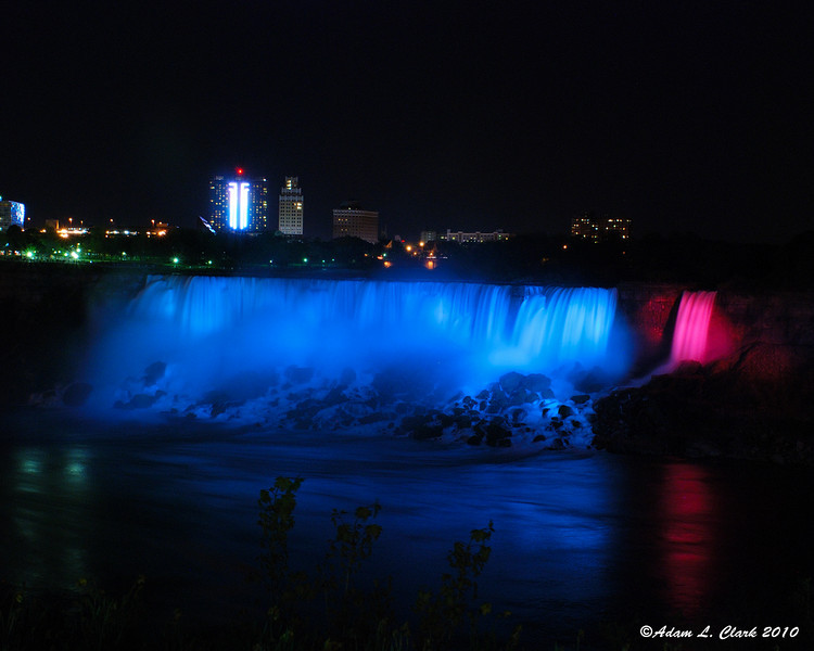 American Falls illuminated at night