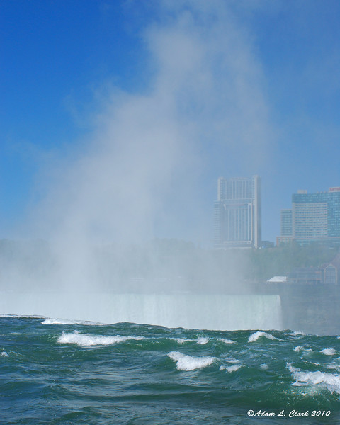 The mist coming up out of the Horseshoe Falls