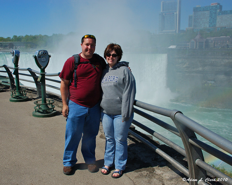 My girlfriend and I in front of the Horseshoe Falls