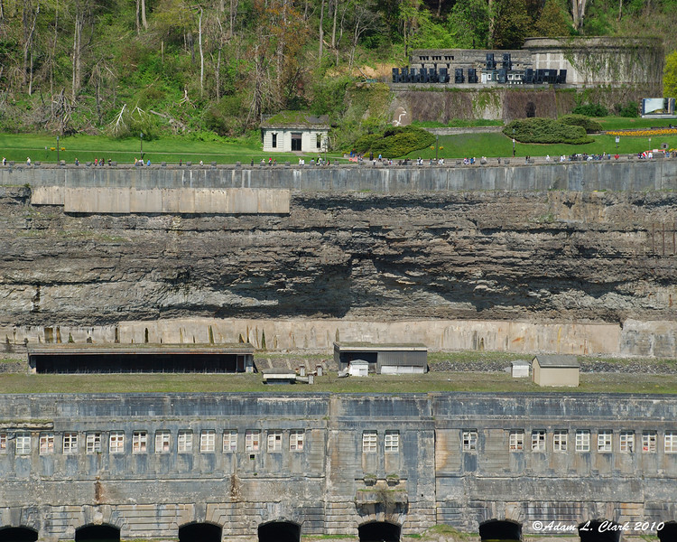 The gorge wall and top of the old generating facility