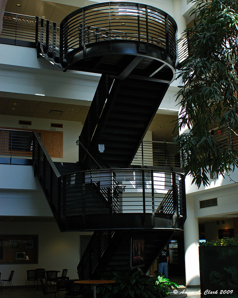 Stairs in the lobby of the Golisano building