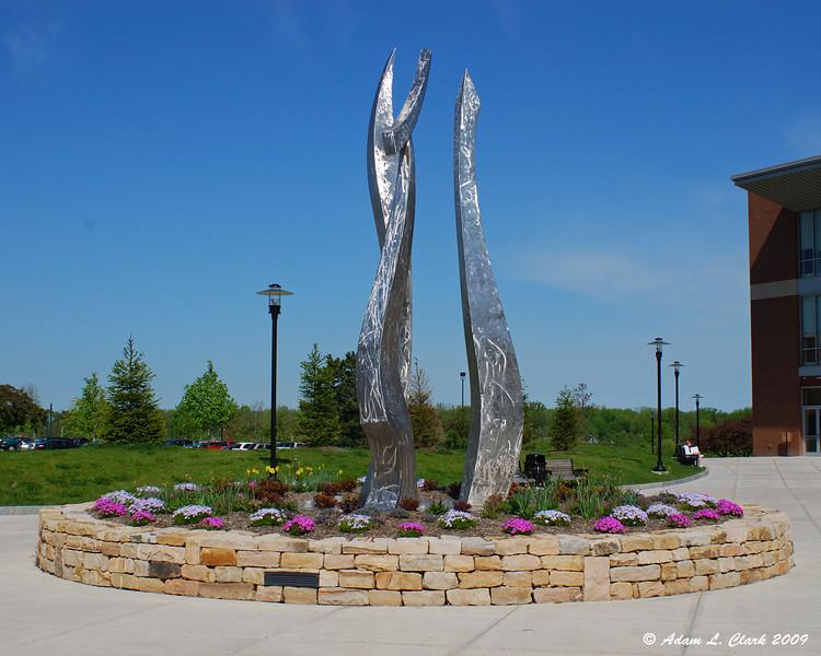 A sculpture near the new CBET building