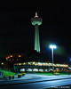 Skylong Tower at night behind the Niagara Falls Grand Dinner Theatre