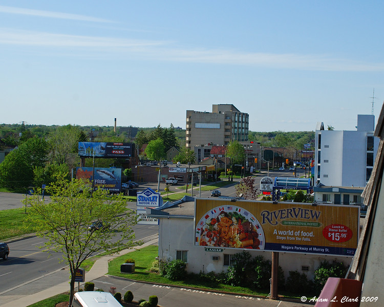 Looking down Stanley Ave from out hotel room balcony