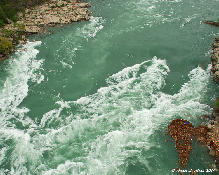 Rough water coming into the whirlpool