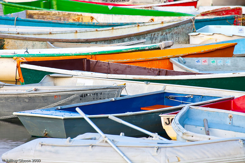 Colorful assortment of boats in the Rockport harbor.