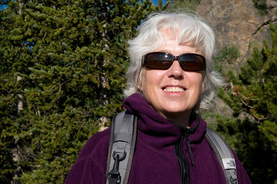 On a walk in the Rocky Mountain National Park, Colorado. Lyn, happy on an early morning trail!