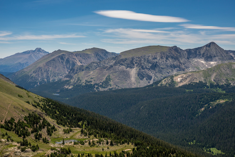 Longs Peak (far left) and Mt Julian (far right) from the Gore Range Overlook