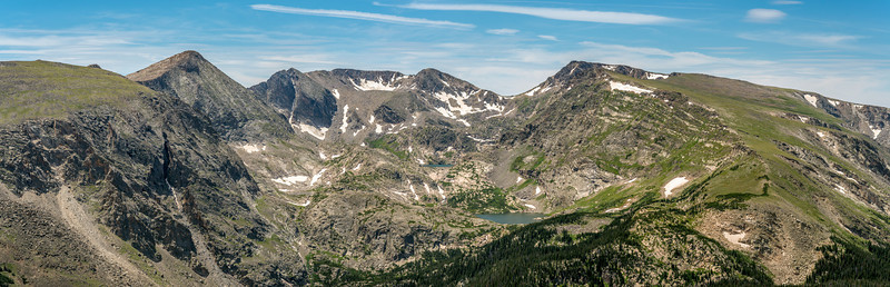 Panorama from Toll Memorial Trail: Mount Julian, Chief Cheley Peak and Mount Ida dominate the scene above Arrowhead Lake and Inkwell Lake