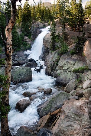Alberta Falls, Rocky Mountain National Park, Colorado. On our way to Mills Lake, on another early morning hike. Is it worth getting up early? Well, compare this photo with the next picture, taken at the same spot but on our way back from Mills Lake, a few hours later.