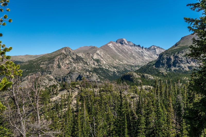 Longs Peak from the north-west. At 4346m of elevation, it is the highest point in Rocky Mountain National Park