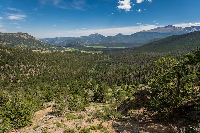 The Twin Sisters, Estes Cone, Longs Peak and Chiefs Head Peak from Many Parks Curve