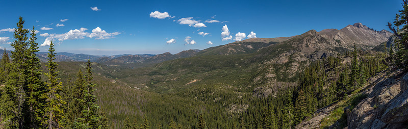 View down Glacier Creek from the trail above Bear Lake. Longs Peak top right
