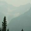 Smokey Canadian Rockies with glaciers, north of Lake Louise. Alberta.