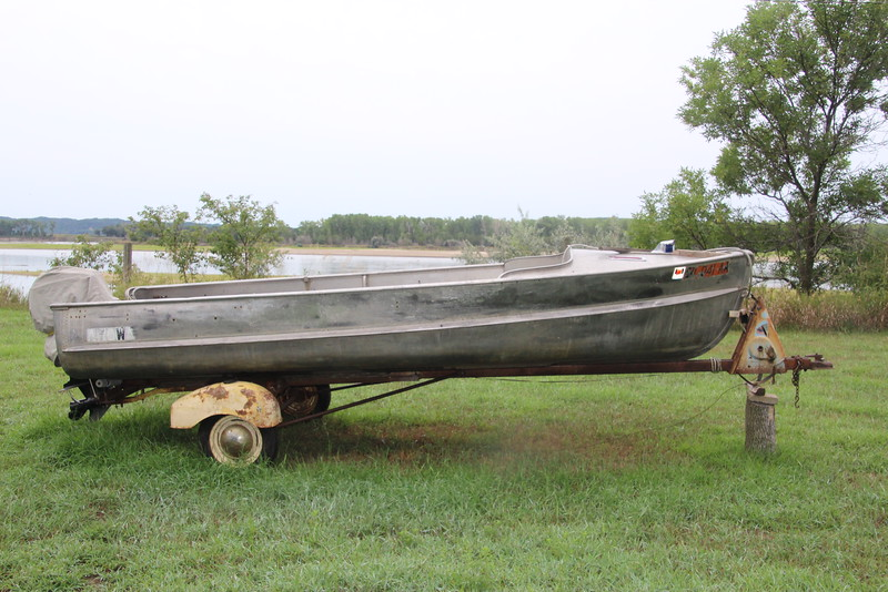 One of his three boats sits at the ready.