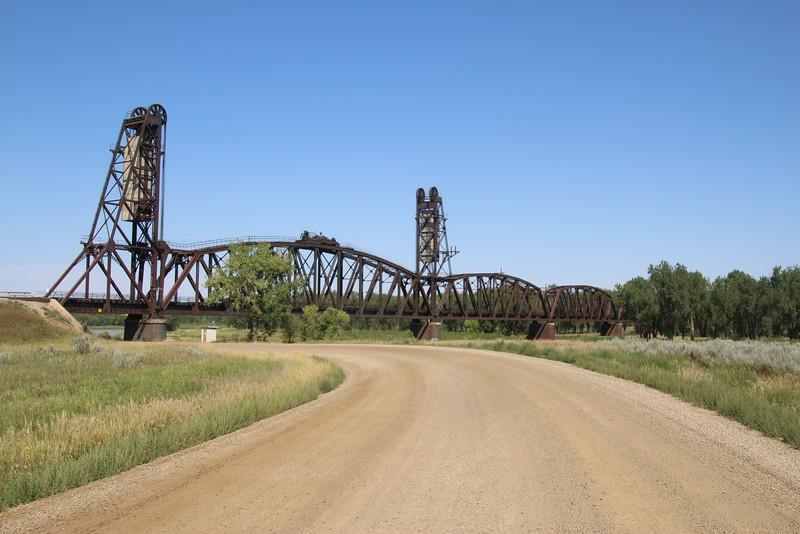 First sight of the Snowden Bridge, spanning the Missouri, near Nohly, MT.  Bridge #22