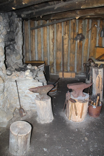 Blacksmith shop.  Over the winter all tools, guns, etc (including some of neighboring tribes) were repaired.