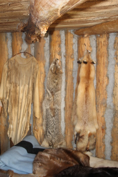 Furs on the wall of the room of Chardoneaux and Sacajawea (his wife).