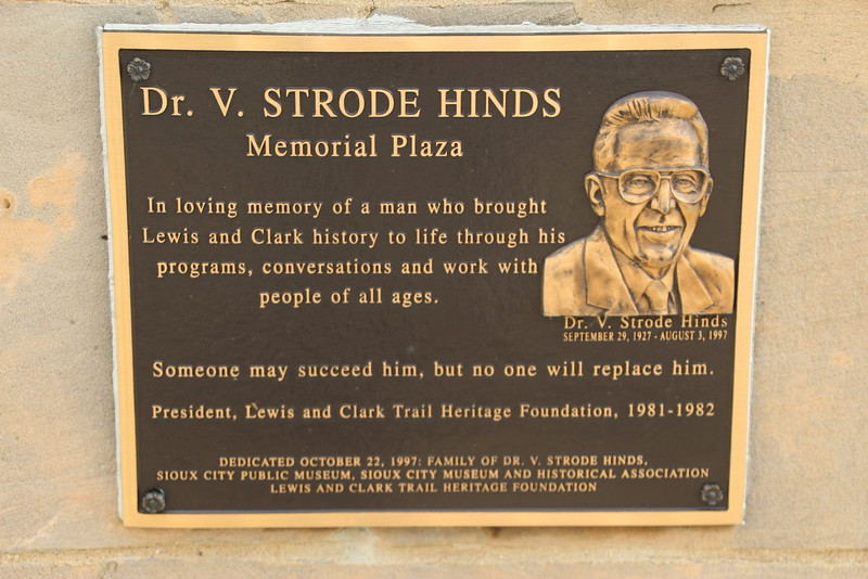 Bev's husband Strode was the original Lewis & Clark expert.  This plaque is at the base of the Floyd Monument, to honor HIS influence.