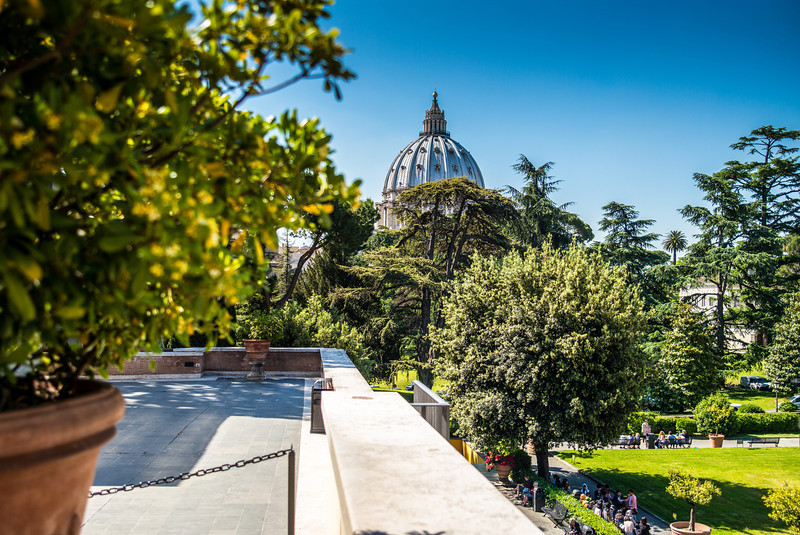 View of St Peter's Basilica from Vatican Museums
