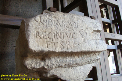 Inscription on marble for the seat of a Roman Senator named Clodius Ablabius Reginus