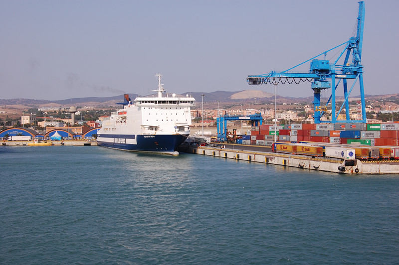 #3 Day 1, 8/29/07.  This ferry in the Civitavecchia harbor appears to be getting up steam.
