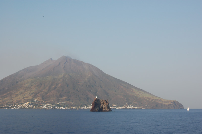 #16 Day 2, 08/30/07.  Stromboli volcano with smoke.