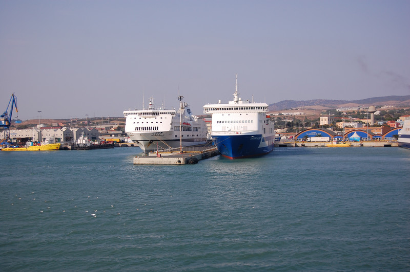 #2 Day 1, 8/29/07. Two ferries in the Civitavecchia harbor.  These usually go to Sardinia and Sicily.