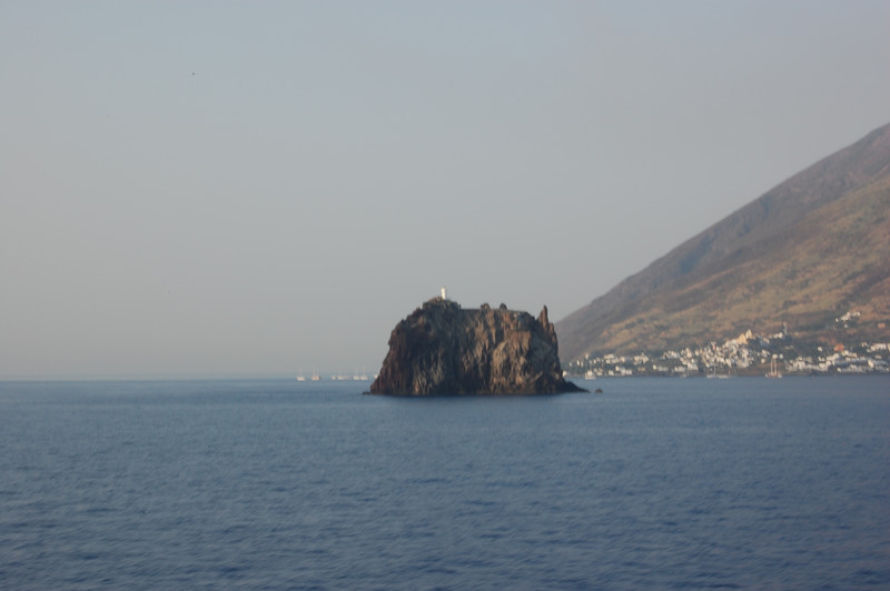 #12 Day 2, 08/30/07.  Large rock just to the northeast of the Stromboli volcano.  Rock has a small structure on it.