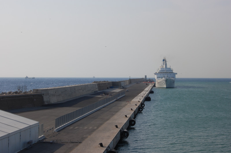 #6 Day 1, 8/29/07.  Small ferry at dock in Civitavecchia, Italy seen from the Holland America Lines Westerdam