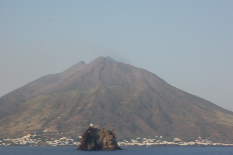 #15 Day 2, 08/30/07.  Stromboli volcano and smoking at top.