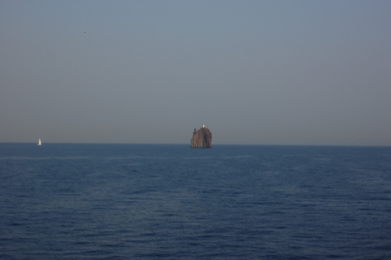 #24  Day 2, 089/30/07.  Rock near Stromboli volcano as we continue to head south towards the Messina straits and the toe of Italy.