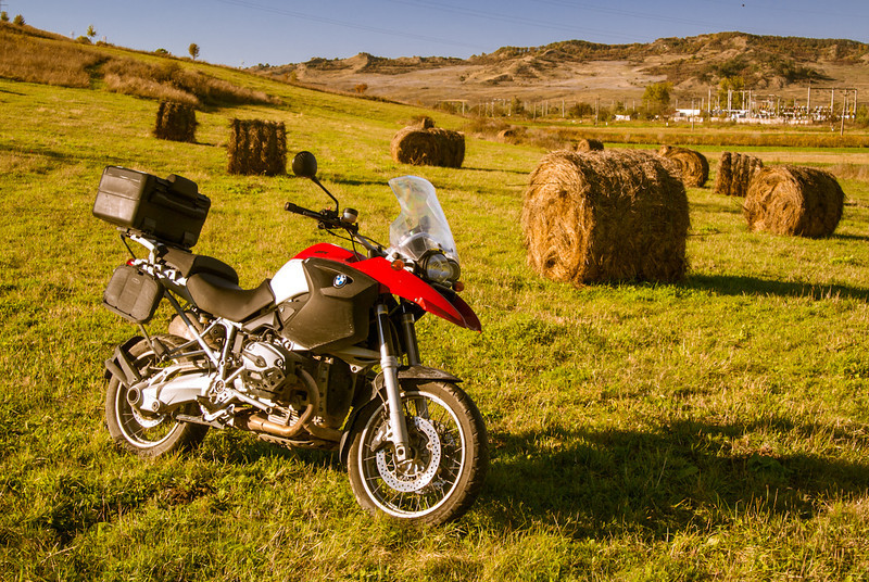 Bales of hay - near Sighisoara - having fun with BMW R1200 GS